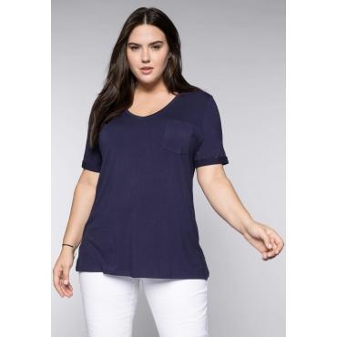 Große Größen: BASIC T-Shirt aus Viskose-Qualität mit V-Ausschnitt, marine, Gr.44/46-56/58