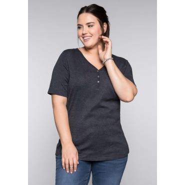 BASIC T-Shirt in melierter Optik, anthrazit meliert, Gr.44/46-56/58