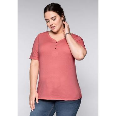 Große Größen: BASIC T-Shirt in melierter Optik, korallrot, Gr.44/46-56/58