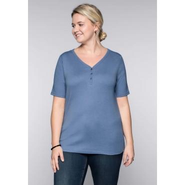 Große Größen: BASIC T-Shirt in melierter Optik, rauchblau meliert, Gr.44/46-56/58