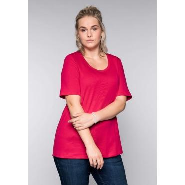 BASIC T-Shirt in modischer Länge, dunkelpink, Gr.44/46-56/58