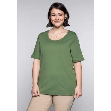 BASIC T-Shirt in modischer Länge, khaki, Gr.44/46-56/58