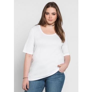 Große Größen: BASIC T-Shirt in modischer Länge, weiß, Gr.40/42-56/58