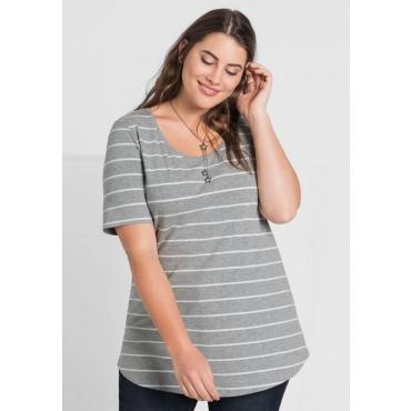 Große Größen: BASIC T-Shirt mit garngefärbten Ringeln, grau meliert, Gr.44/46-56/58