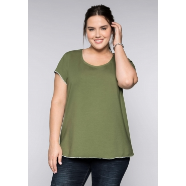 Große Größen: BASIC T-Shirt mit gestickter Wellenkante, khaki, Gr.44/46-56/58