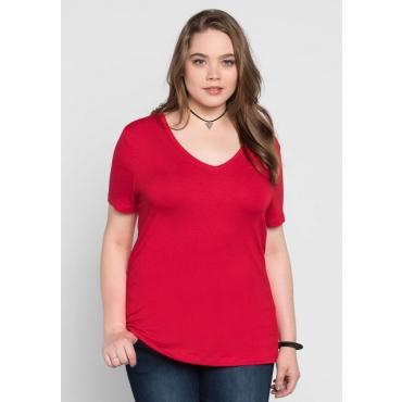 Große Größen: BASIC T-Shirt mit kurzem Arm, mohnrot, Gr.40/42-56/58
