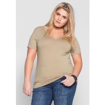 Große Größen: BASIC T-Shirt mit kurzem Arm, sand, Gr.40/42-56/58