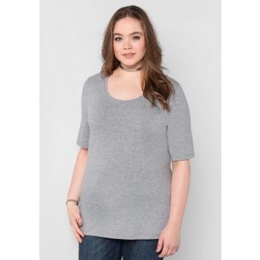 Große Größen: BASIC T-Shirt mit langem Halbarm, grau meliert, Gr.40/42-56/58