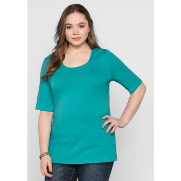 Große Größen: BASIC T-Shirt mit langem Halbarm, karibiktürkis, Gr.40/42-56/58