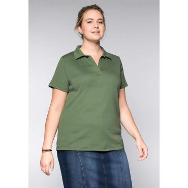 Große Größen: BASIC T-Shirt mit Polokragen, khaki, Gr.44/46-56/58