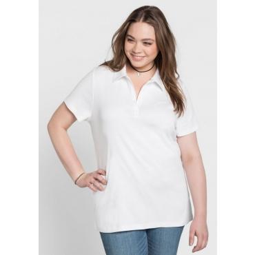 Große Größen: BASIC T-Shirt mit Polokragen, weiß, Gr.40/42-56/58