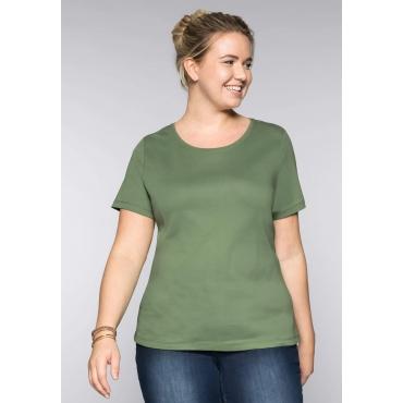 Große Größen: BASIC T-Shirt mit rundem Ausschnitt, khaki, Gr.44/46-56/58