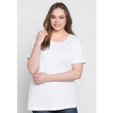 BASIC T-Shirt mit rundem Ausschnitt, weiß, Gr.40/42-56/58