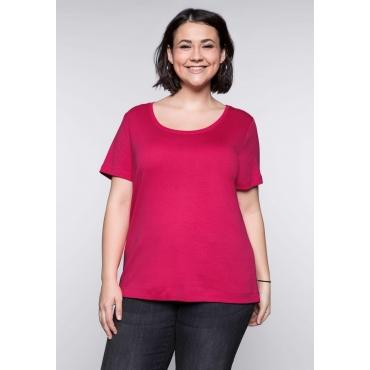 Große Größen: BASIC T-Shirt mit Rundhalsausschnitt, dunkelpink, Gr.44/46-56/58