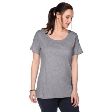 Große Größen: BASIC T-Shirt mit Rundhalsausschnitt, grau meliert, Gr.40/42-56/58
