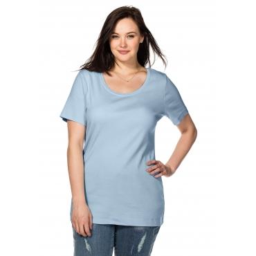 Große Größen: BASIC T-Shirt mit Rundhalsausschnitt, hellblau, Gr.40/42-56/58