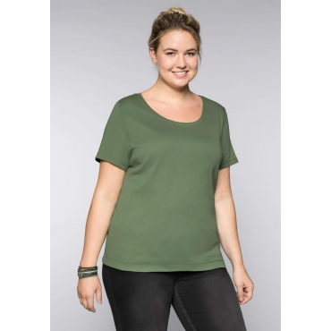 Große Größen: BASIC T-Shirt mit Rundhalsausschnitt, khaki, Gr.44/46-56/58