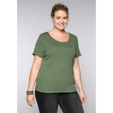 BASIC T-Shirt mit Rundhalsausschnitt, khaki, Gr.44/46-56/58