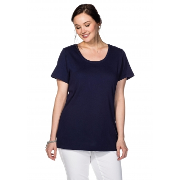 Große Größen: BASIC T-Shirt mit Rundhalsausschnitt, marine, Gr.40/42-56/58