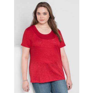 Große Größen: BASIC T-Shirt mit Rundhalsausschnitt, mohnrot, Gr.40/42-56/58