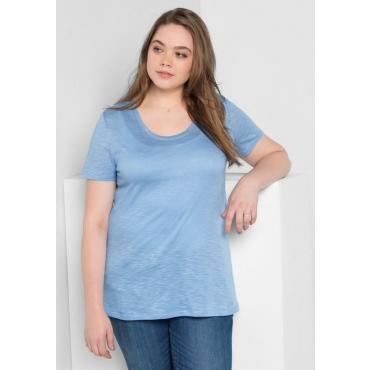 Große Größen: BASIC T-Shirt mit Rundhalsausschnitt, pastellblau, Gr.40/42-56/58