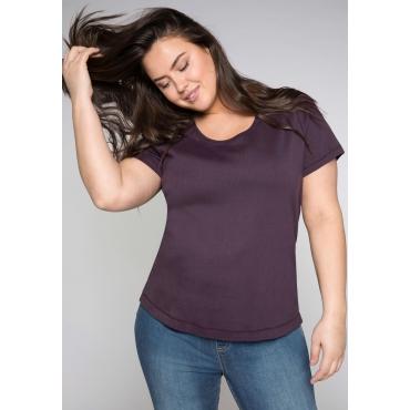 Große Größen: BASIC T-Shirt mit Rundhalsausschnitt, pflaume, Gr.44/46-56/58