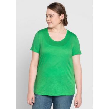 Große Größen: BASIC T-Shirt mit Rundhalsausschnitt, powergrün, Gr.40/42-56/58