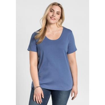 Große Größen: BASIC T-Shirt mit Rundhalsausschnitt, rauchblau, Gr.44/46-56/58