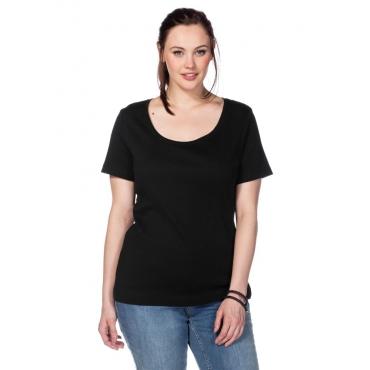 BASIC T-Shirt mit Rundhalsausschnitt, schwarz, Gr.40/42-56/58