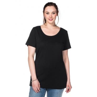 Große Größen: BASIC T-Shirt mit Rundhalsausschnitt, schwarz, Gr.40/42-56/58