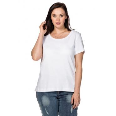 Große Größen: BASIC T-Shirt mit Rundhalsausschnitt, weiß, Gr.40/42-56/58