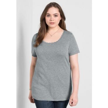 Große Größen: BASIC T-Shirt mit Spitze, grau meliert, Gr.40/42-56/58