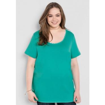 Große Größen: BASIC T-Shirt mit Spitze, karibiktürkis, Gr.40/42-56/58