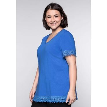 Große Größen: BASIC T-Shirt mit Spitze, royalblau, Gr.44/46-56/58