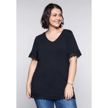 BASIC T-Shirt mit Spitze und V-Ausschnitt, schwarz, Gr.44/46-56/58
