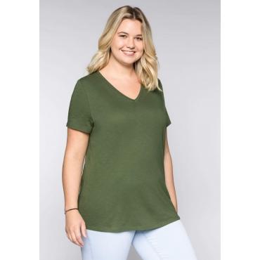Große Größen: BASIC T-Shirt mit V-Ausschnitt, khaki, Gr.44/46-56/58