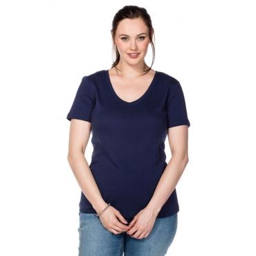 Große Größen: BASIC T-Shirt mit V-Ausschnitt, marine, Gr.40/42-56/58