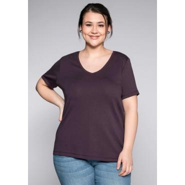 Große Größen: BASIC T-Shirt mit V-Ausschnitt, pflaume, Gr.44/46-56/58