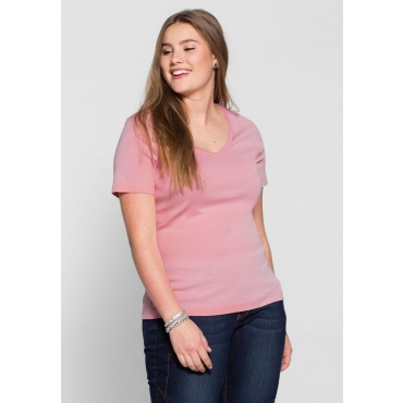 Große Größen: BASIC T-Shirt mit V-Ausschnitt, rosé, Gr.40/42-56/58