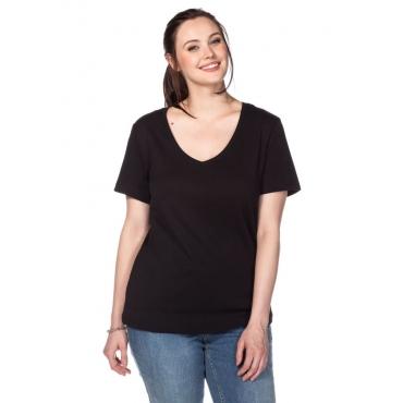 Große Größen: BASIC T-Shirt mit V-Ausschnitt, schwarz, Gr.40/42-56/58