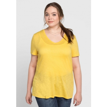 BASIC T-Shirt mit V-Ausschnitt, sonnengelb, Gr.40/42-56/58