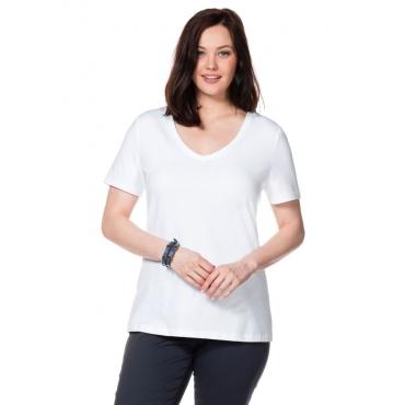 Große Größen: BASIC T-Shirt mit V-Ausschnitt, weiß, Gr.40/42-56/58