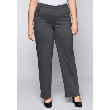 Große Größen: BASIC Weite Stretch-Hose aus Bengalin, grau meliert, Gr.44-58