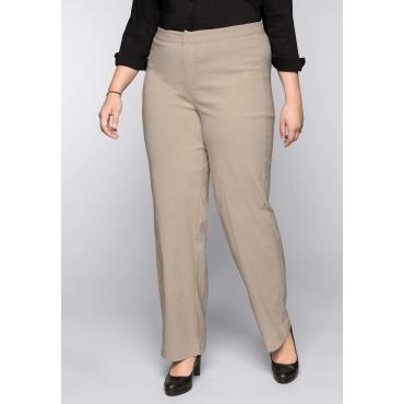 Große Größen: BASIC Weite Stretch-Hose aus Bengalin, softtaupe, Gr.44-58