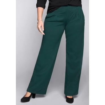 Große Größen: BASIC Weite Hose aus Interlock mit breitem Bund, tiefgrün, Gr.44-58