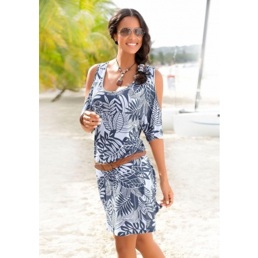 Große Größen: Beachtime Strandkleid, blau-weiß, Gr.44/46-52/54
