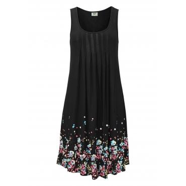 Große Größen: Beachtime Strandkleid mit Blumenprint, schwarz, Gr.38-52