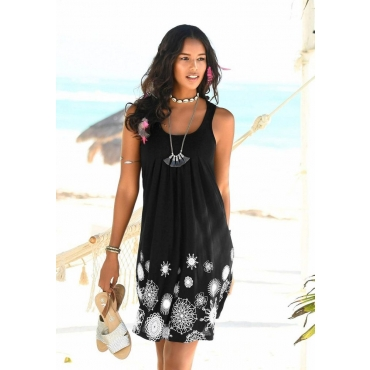 Große Größen: Beachtime Strandkleid mit grafischem Druck, schwarz-weiß, Gr.44-52