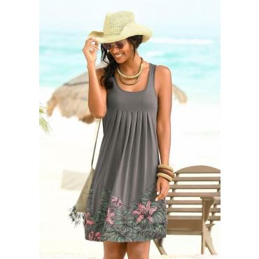 Große Größen: Beachtime Strandkleid mit Liliendruck, taupe, Gr.44-52