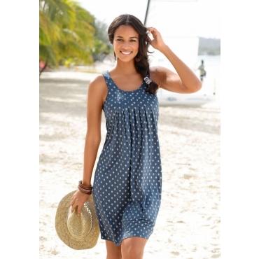Große Größen: Beachtime Strandkleid mit Ornamentdruck, blau-weiß, Gr.44-52